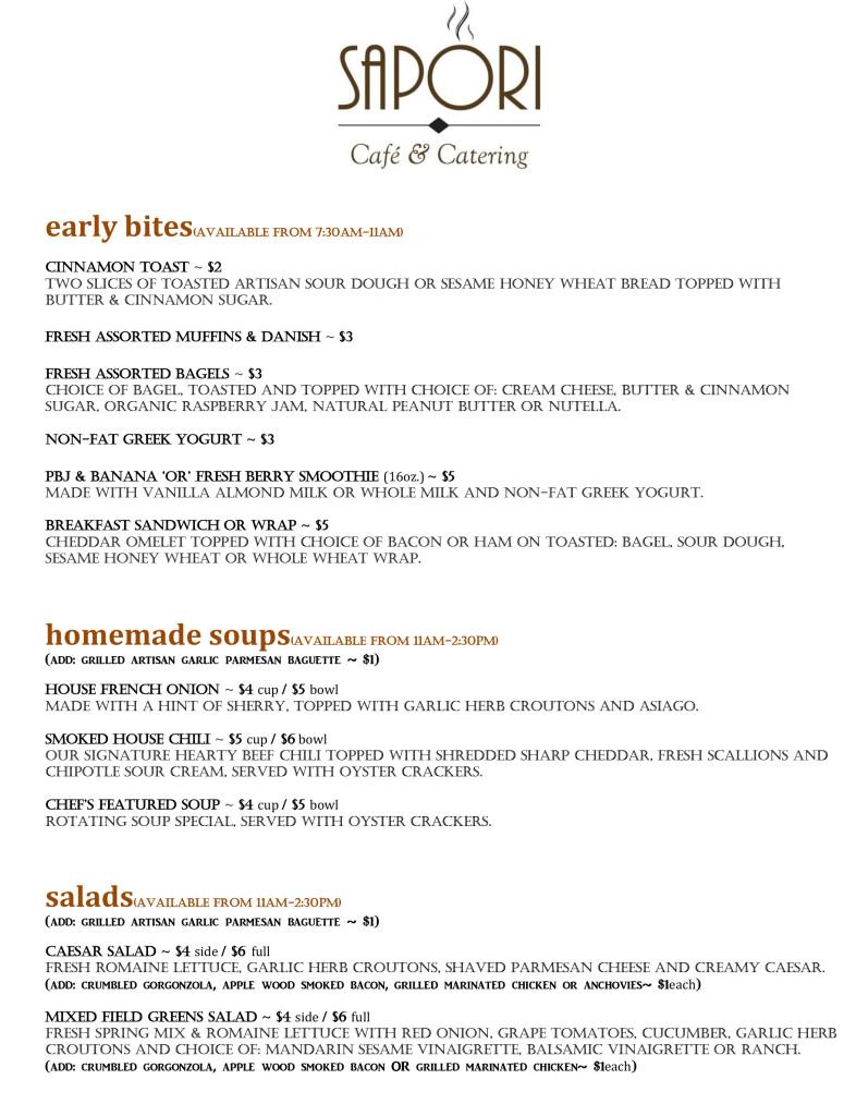 SAPORI Cafe Menu #2-2