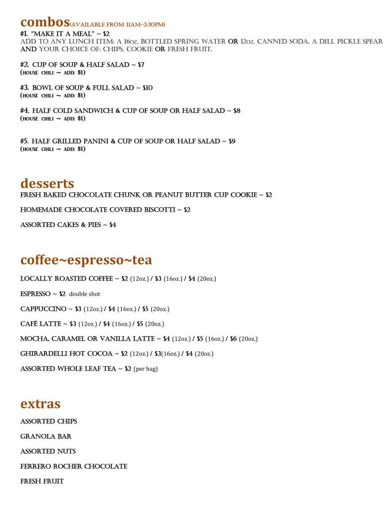 SAPORI Cafe Menu #2-4